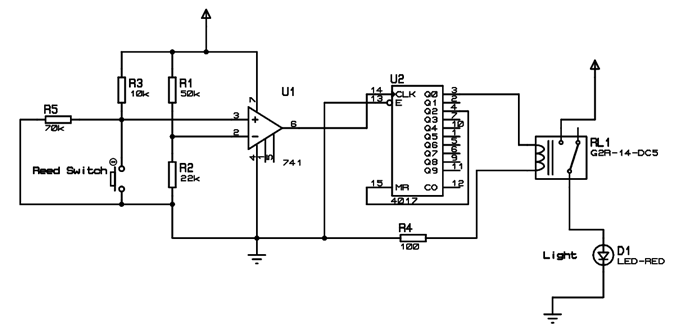 Automatic Wash room Light Switch Circuit Diagram