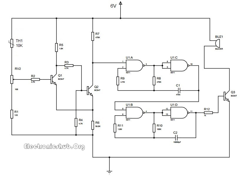 Metal Detector Circuit likewise Shadow Sensor Alarm further Story besides Vk 2wd Electric Car likewise Heartbeat Monitor Project. on buzzer circuit diagram