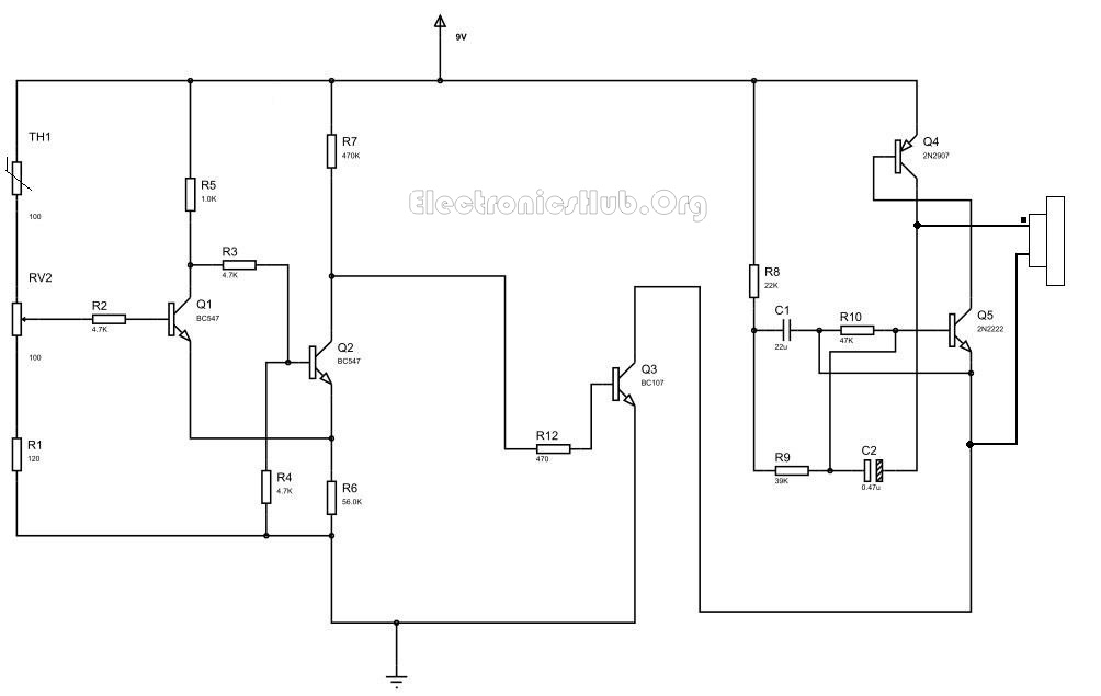 Fire Alarm Circuit With Siren Sound