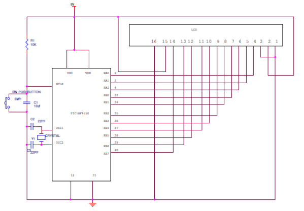 Circuit Diagram of 16X2 LCD Interfacing PIC Microcontroller