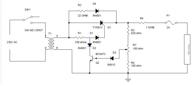 battery charger circuit using silicon controlled rectifier (scr), Wiring circuit
