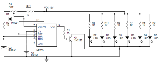 Circuit Diagram of PWM LED DIMMER USING NE555