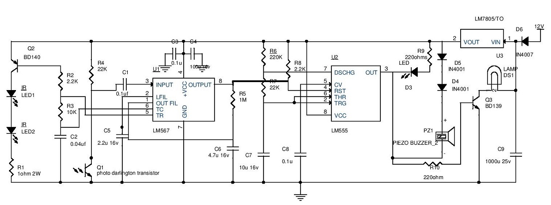 ece projects  auto parking guard circuit using infrared sensor