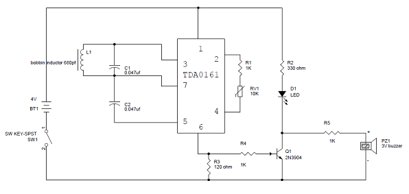 metal detector circuit diagram and working, block diagram