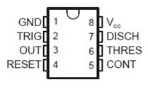 PIN DIAGRAM OF NE555 TIMER