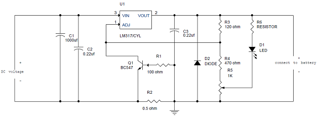 SIMPLE LEAD ACID BATTERY CHARGER - Circuit Diagram