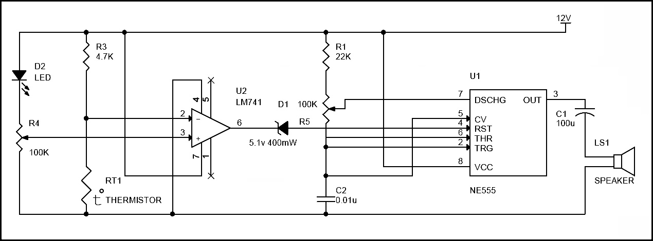 simple fire alarm circuit using thermistor  germanium