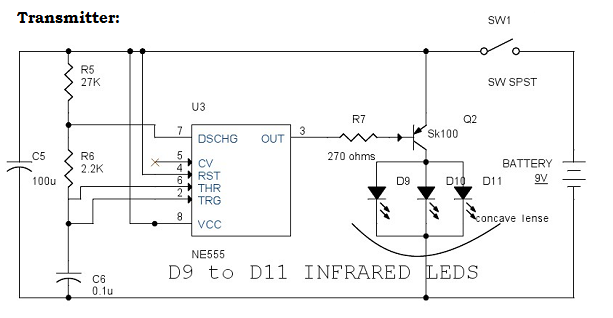 Infrared Remote Control Switch Circuit Diagram - Transmitter
