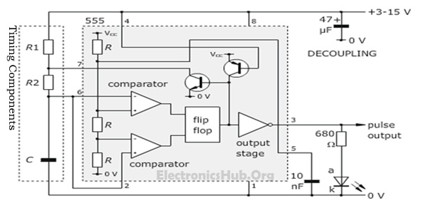 555 Timer in Astable Multivibrator Mode - Circuit Diagram