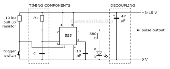 555 Timer as Monostable Multivibrator - Circuit Diagram