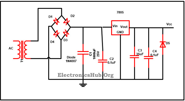 ic voltage regulator circuit working and applications, wiring diagram