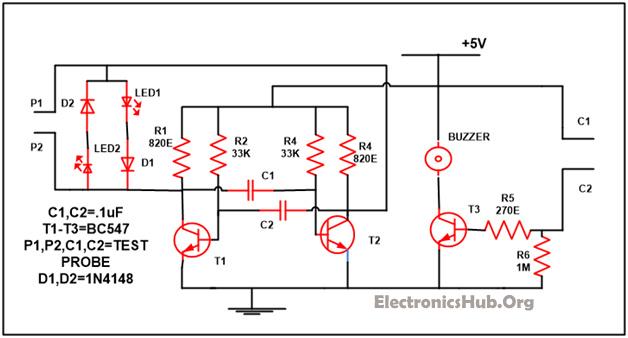 Diploma polarity cum continuity tester circuit continuity tester circuit diagram ccuart Choice Image