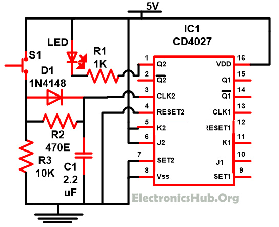 Understanding of JK Flip Flop using CD4027 Circuit