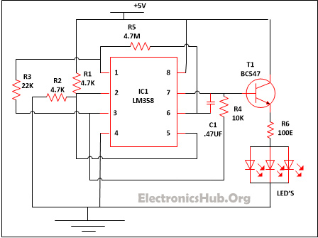 led lamp dimmer project circuit diagram and working led lamp dimmer circuit diagram