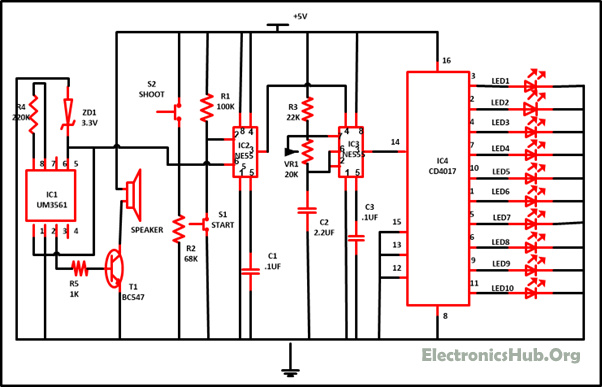 Reaction Timer Game Circuit Diagram