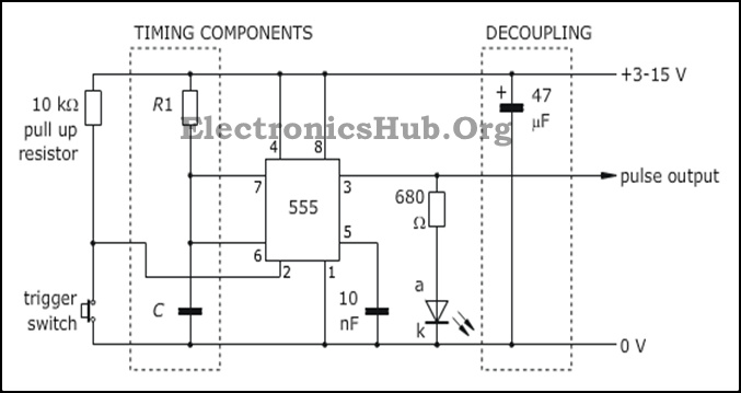 555 Timer in Monostable Mode Circuit Diagram