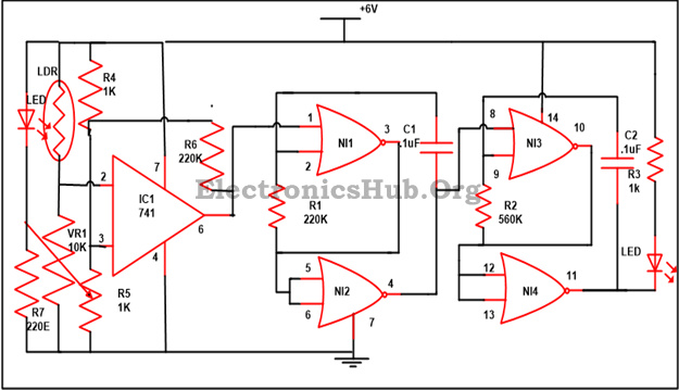 electronic letter box project circuit and its working, circuit diagram