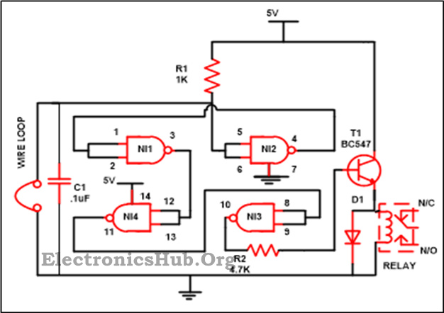 Luggage Security Alarm Project Circuit using Logic Gates