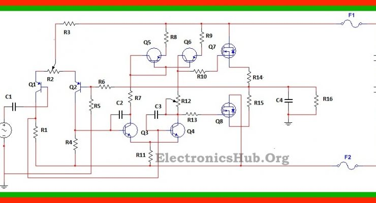 100W MOSFET Power Amplifier Circuit