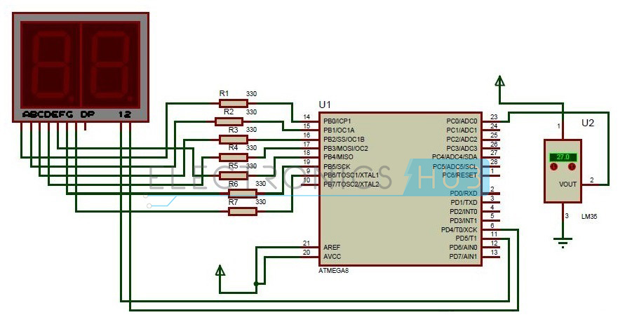 Digital Temperature Sensor Circuit Using Avr Microcontroller