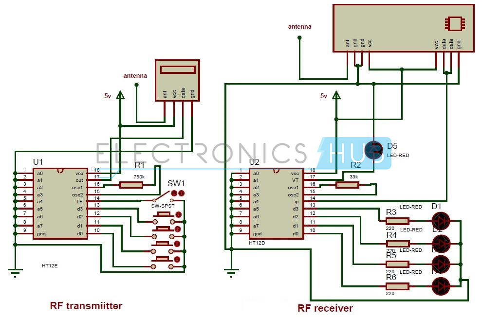 rf remote for home appliances out microcontroller circuit diagram of remote control circuit through rf out microcontroller