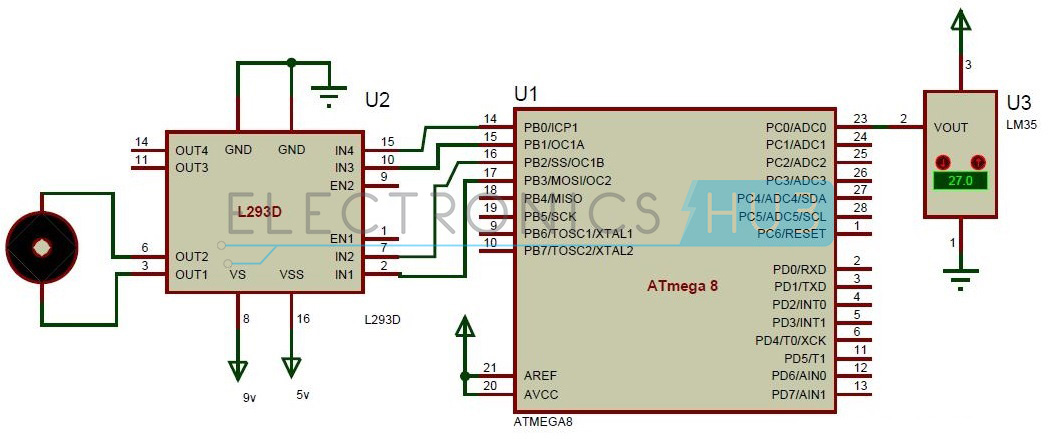 Temperature Controlled DC Fan using ATmega8 Microcontroller Circuit Diagram