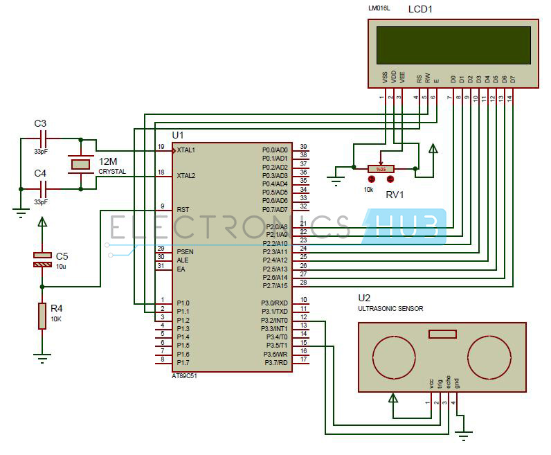 Circuit Diagram of Ultrasonic Range Finder Using 8051 Microcontroller
