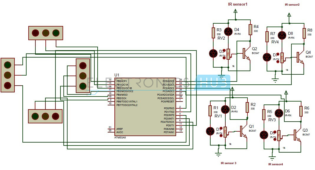 density based traffic signal system using microcontroller, Wiring block