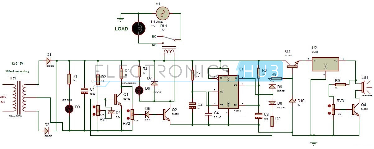 high and low voltage cutoff delay and alarm circuit high and low voltage cut off delay alarm circuit diagram