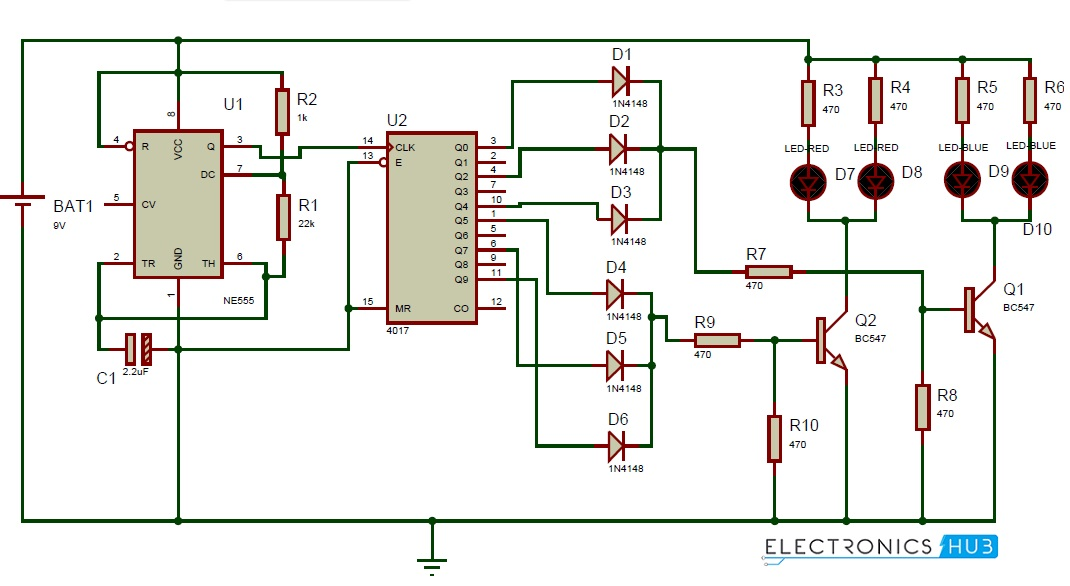 Police Lights Circuit Diagram using 555 Timer