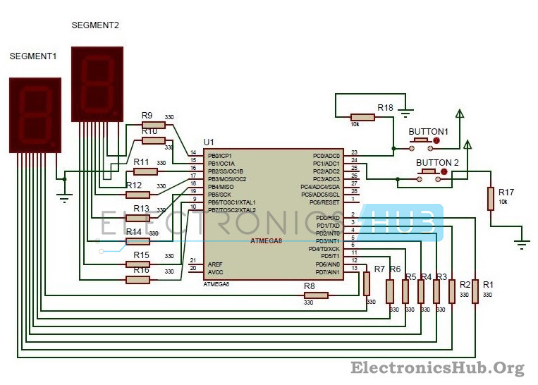 digit up/down counter circuit using  segment led displays, wiring diagram