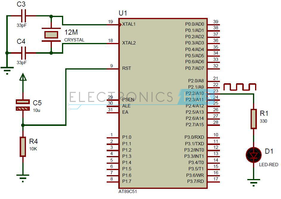 Delay using 8051 Timer Circuit Diagram