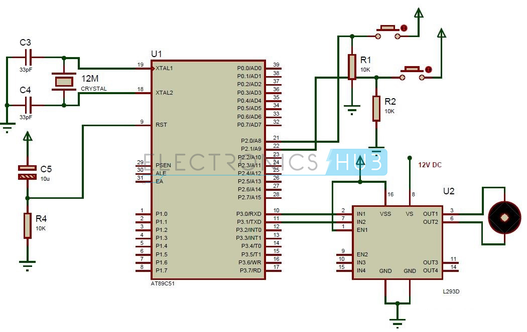 Interfacing dc motor with 8051 microcontroller for Dc motor control circuit diagram