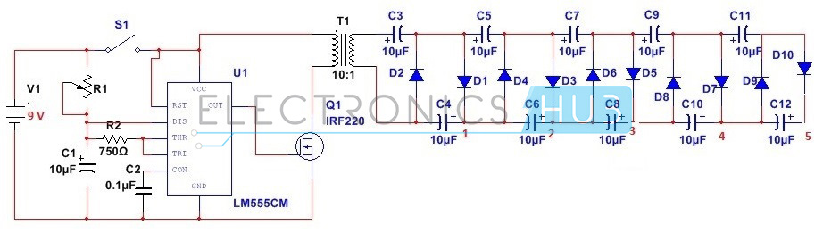 how to design stun gun circuit using 555 timer ic?, Circuit diagram