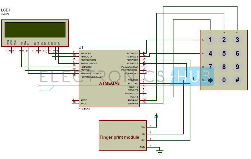 Biometric Attendance System Circuit Diagram