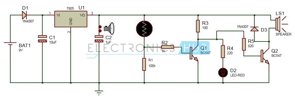 Electronic Eye Controlled Security System on dc power supply schematic diagram