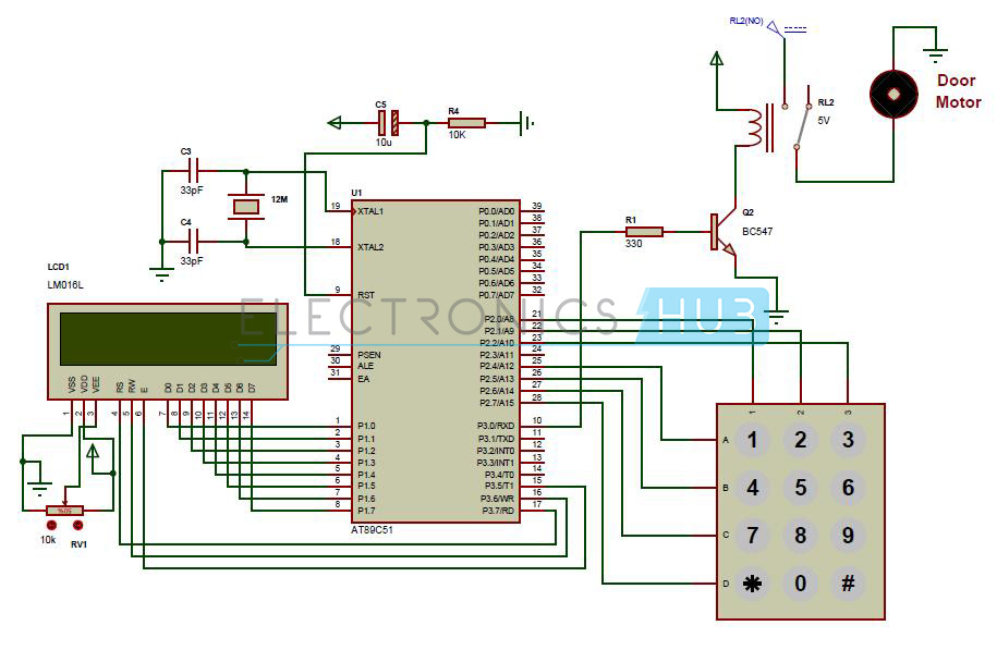 eee password based door lock system using  microcontroller, circuit diagram