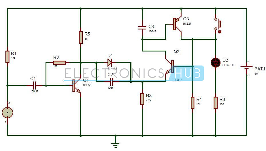 puff to off led lights circuit working and applications puff to off leds circuit diagram