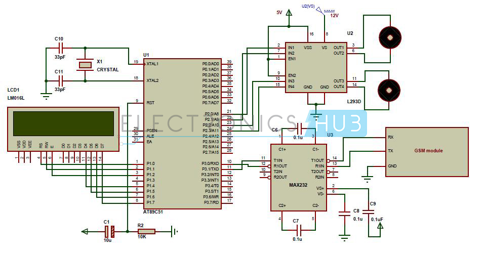 gsm mobile controlled robot using  microcontroller, circuit diagram