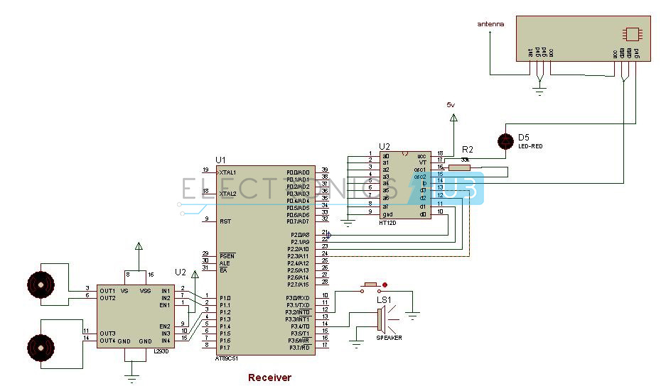 Rf Based Metal Detector Robotic Vehicle Circuit Using 8051
