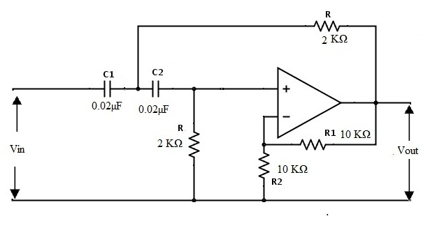 Fig: Second Order Active High Pass Filter Example