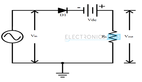 13. Series Negative clipper with positive bias voltage connected in series