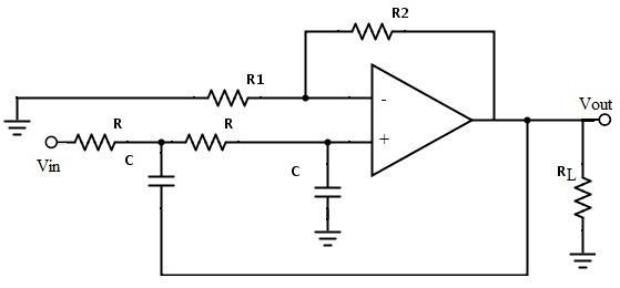 Fig: Second Order Low Pass Butterworth Filter