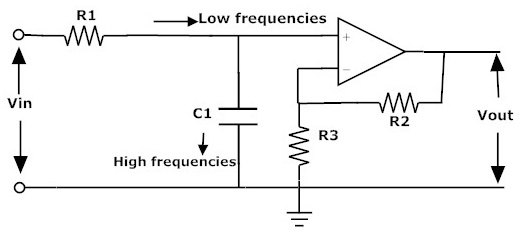 simple rc low pass filter circuit diagram with frequency