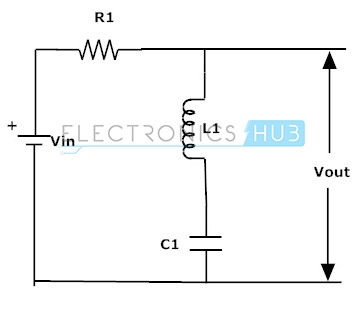 Fig: Band Stop Filter circuit using R, L and C