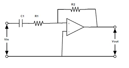 Fig: Active High Pass Filter using Inverting Operational Amplifier