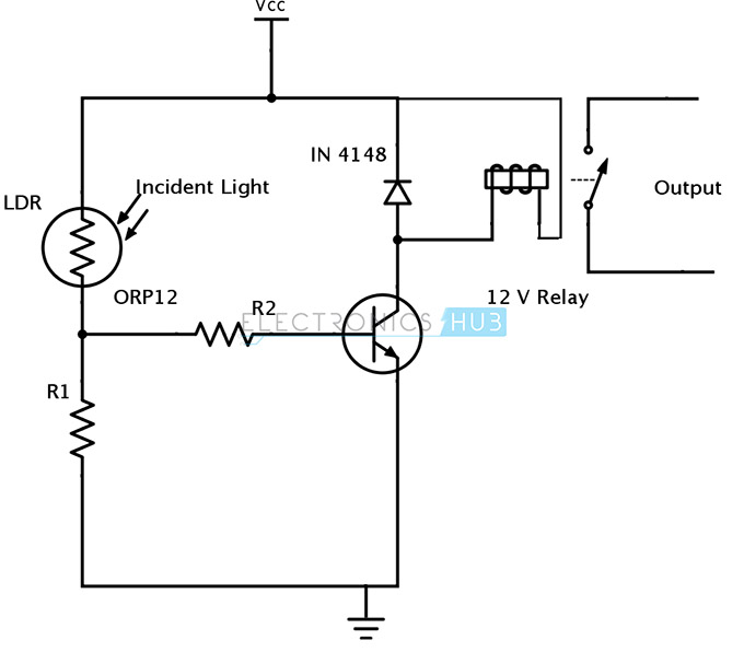 Light sensing using ldr, photodiode and phototransistor it is a light sensor circuit with relay output light activated switch the light dependent resistor rldr and the resistor r1 form a voltage divider network, Wall Switch