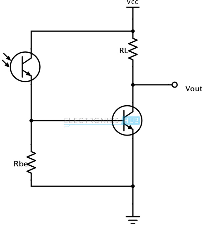 Phototransistor amplifier with second transistor