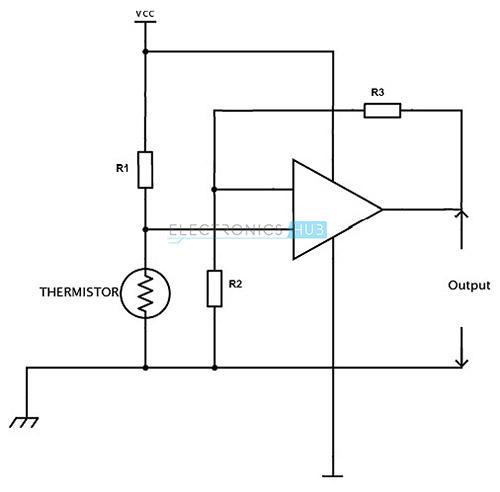 Circuito de detección de temperatura del termistor 6.NTC
