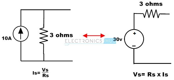 7.Convertion of Current Source to Voltage Source example